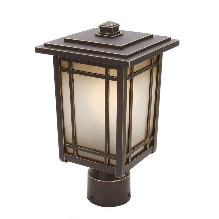 Home Decorators Collection Port Oxford 1 Light Oil Rubbed Chestnut Outdoor Post Mount Lantern