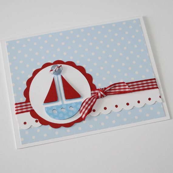 Baby shower invitation sailboat birthday / por JillyBearDesigns