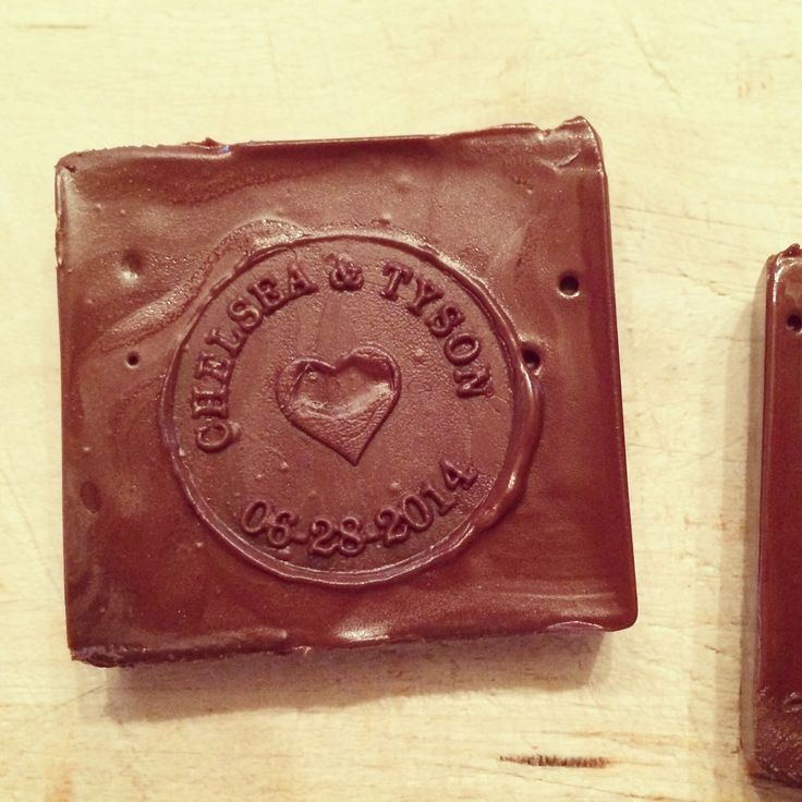 Custom stamped chocolate for the s'mores bar  www.crumbandberry.com
