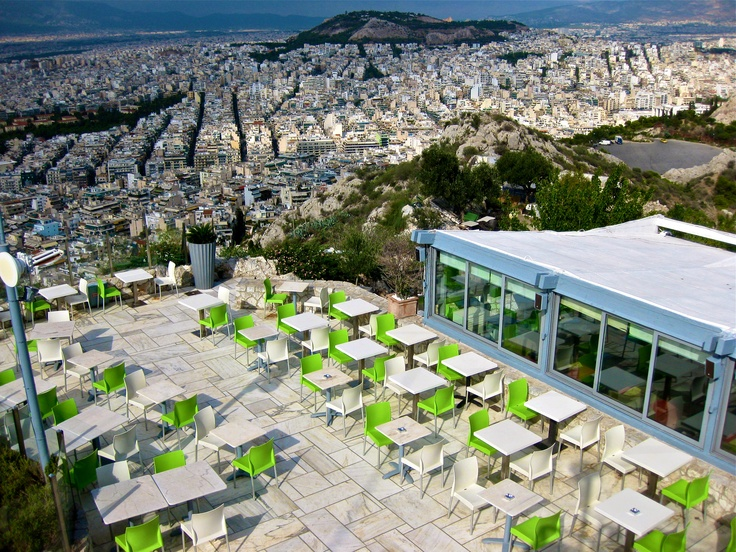 view from lycabettus hill / st george chapel, athens greece