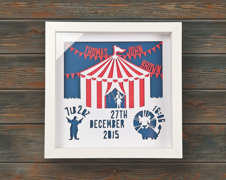 Circus - New Baby Birth Announcement - Framed personalised paper cut art (Small 25x25cm) by wallaceimagery on Etsy https://www.etsy.com/uk/listing/384542862/circus-new-baby-birth-announcement