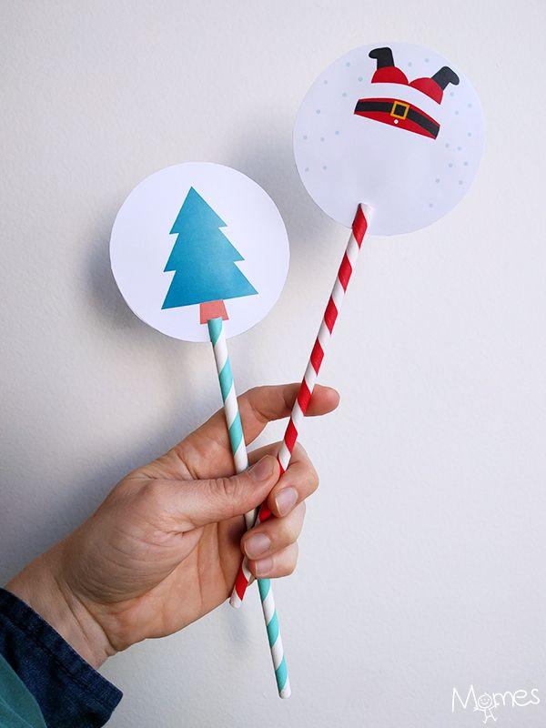 Bricolage de Noël : Les thaumatropes de Noël à imrpimer