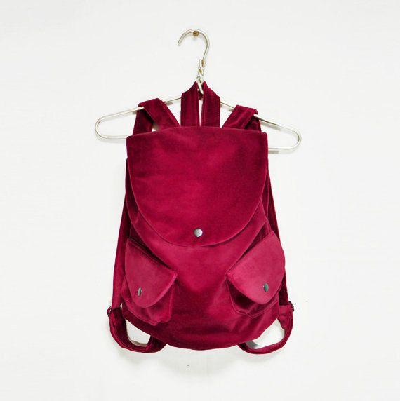 FREE SHIPPING! Red Velvet Backpack, Vinous Red Bag, Wine Red backpack, Cotton Bag, womens rucksack, Cotton backpack