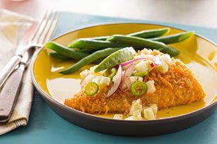 Pescado al horno con salsa de limón y pepino receta