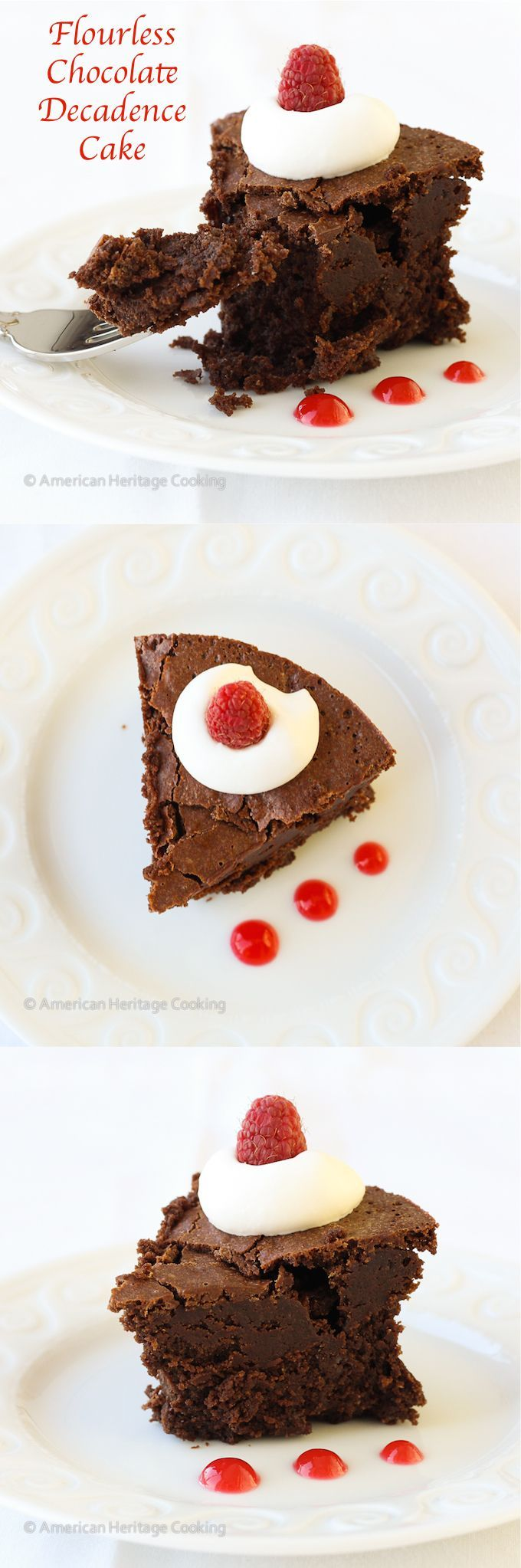 Flourless Chocolate Decadence Cake |  This is the best flourless chocolate cake I have ever tried! Dense, intensely chocolatey! ~American Heritage Cooking  #flourless #glutenfree #cake #dessert #chocolate #valentinesday #recipe #baking
