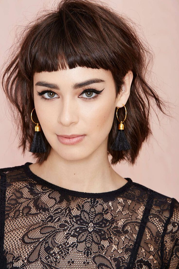 Short blunt bob hairstyle with bangs short hairstyles - 15 Amazing Short Shaggy Hairstyles