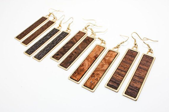 Exotic Wood Veneer - Modern Brass Dangle Earrings (Hypoallergenic) Custom Made - Choose Your Wood Species & Grain Direction