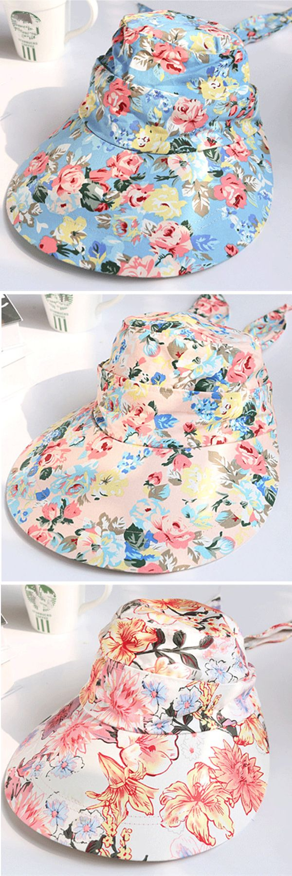 Women Summer UV Protection Floral Gardening Detachable Hat Beach Outdoor Sunscreen Visor Sun Cap