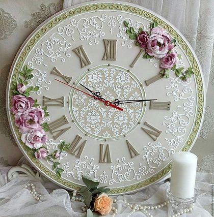 """Часы для дома ручной работы. Ярмарка Мастеров - ручная работа. Купить часы настенные """"Нежность пиона"""". Handmade. Оливковый"""