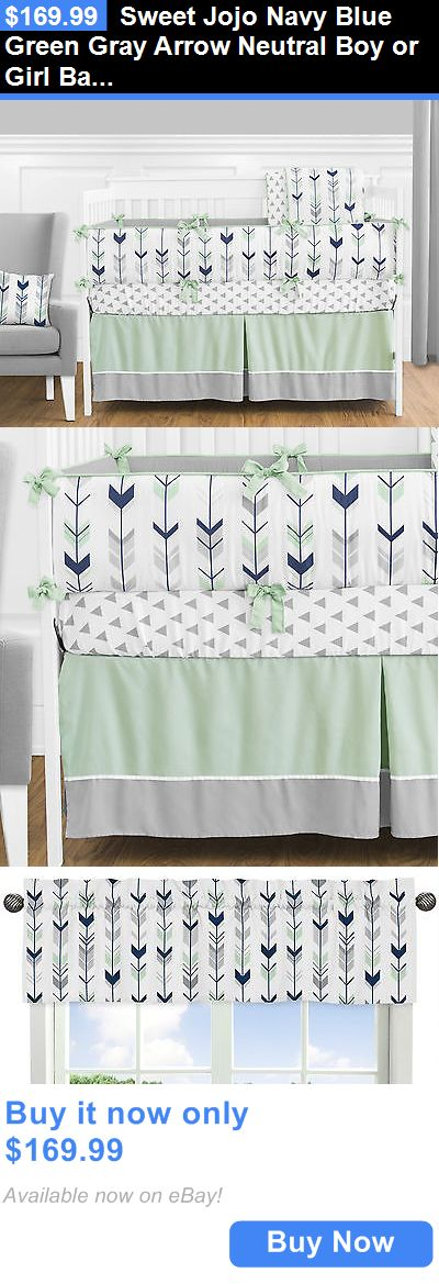 Baby Nursery: Sweet Jojo Navy Blue Green Gray Arrow Neutral Boy Or Girl Baby Bedding Crib Set BUY IT NOW ONLY: $169.99