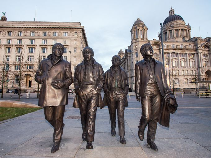 A new statue of the Beatles was unveiled at Liverpool's Pier Head in Dec. 2015 to commemorate the 50th anniversary of the group's last concert in their hometown.