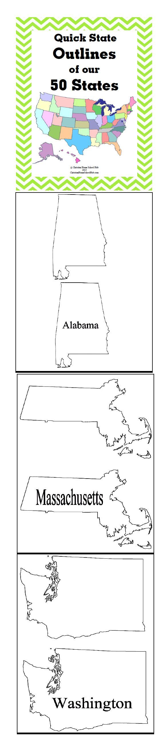 """Quick State Outlines of our 50 States! (51 pages)  Download Club members can download @ http://www.christianhomeschoolhub.spruz.com/governmenthistorygeography.htm (Under """"U.S. Government/Civics and More - US States"""")"""