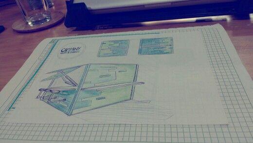 Container design, sketch, restaurant design