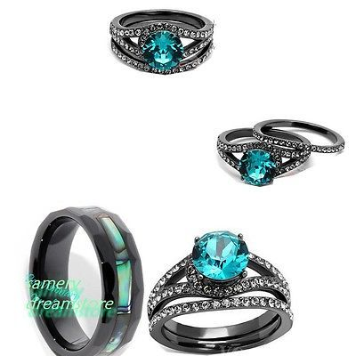 HIS BLACK CERAMIC AND HER BLACK & BLUE SST CZ ENGAGEMENT AND WEDDING RING SET