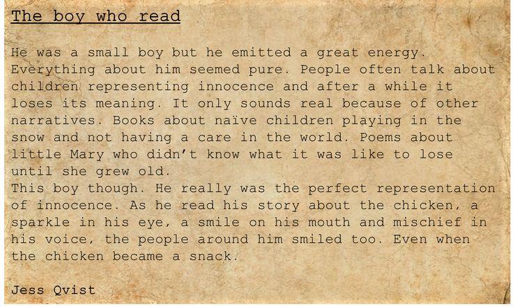 People - Writing - The boy who read - innocence - chicken - cute - children - poetry  https://jessoutsidethelines.wordpress.com/category/people/  https://www.wattpad.com/story/50957356-people