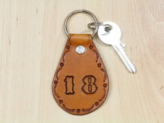 18 Keychain  Leather 18th Key Fob  18th by TinasLeatherCrafts. Repin To Remember.
