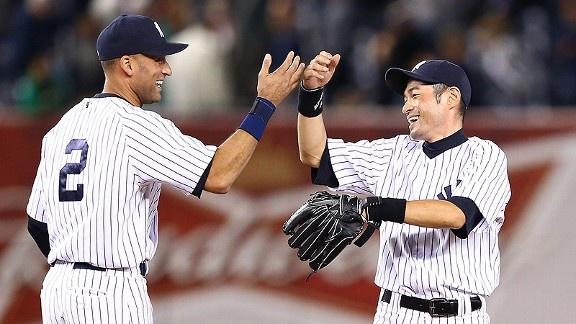 Derek Jeter & Ichiro Suzuki. Greatness x2. Here's to a prolonged 2012 postseason run.: Yankee Blue, Derek Jeter, Bleed Yankee, York Yankees, Bleed Pinstripe, Ny Yankees, Yankees Baby, Blue Jay, Baseball Players
