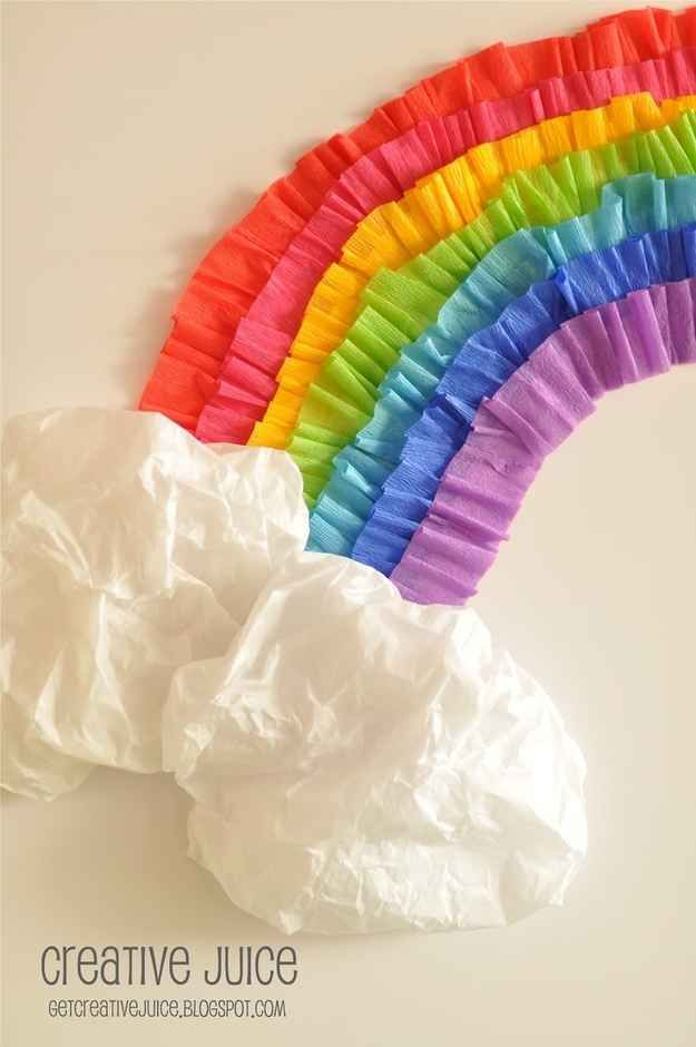 Use streamers and tissue paper to create a rainbow on the wall.