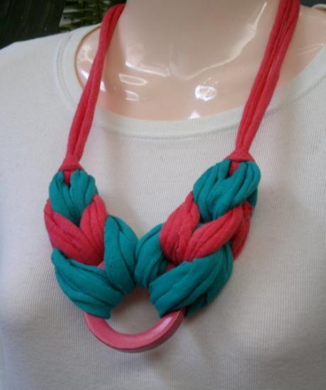 collar african style collar trapillo,aro de madera tejido,montado a mano
