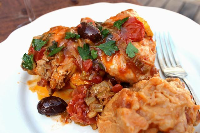 Healthy Chicken with Leeks Tomatoes and Olives