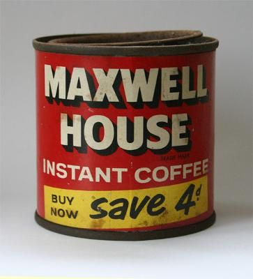 Maxwell House Instant Coffee: I found this old Maxwell House instant coffee tin in a junk shop in the UK. While old coffee tins might be ubiquitous in North America, that's not the
