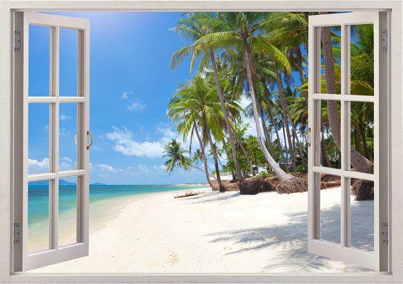 Tropisch strand 3D-venster muur sticker  U kunt ook bestellen deze weergave zonder het raamkozijn, Zo krijg je alleen in de weergave als een enorme muur sticker.  === Enorme verscheidenheid aan kleurrijke 3D Vensters === 250 + ander venster weergaven voor home decor. Verticaal of horizontaal - https://www.etsy.com/listing/225582800 Met raamkozijn of zonder raamkozijn. 4 maten • Regular: 50 cm * 70 cm / 19.6 inches * 27 inch (hoogte * lengte) • Grote: 60 cm * 85 cm / 24 inch * 34 inch…