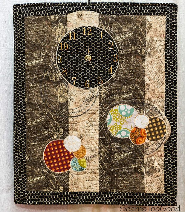 Art Quilt - Clock Quilt with Traditional and Modern Fabrics by SeamsTooGood on Etsy:
