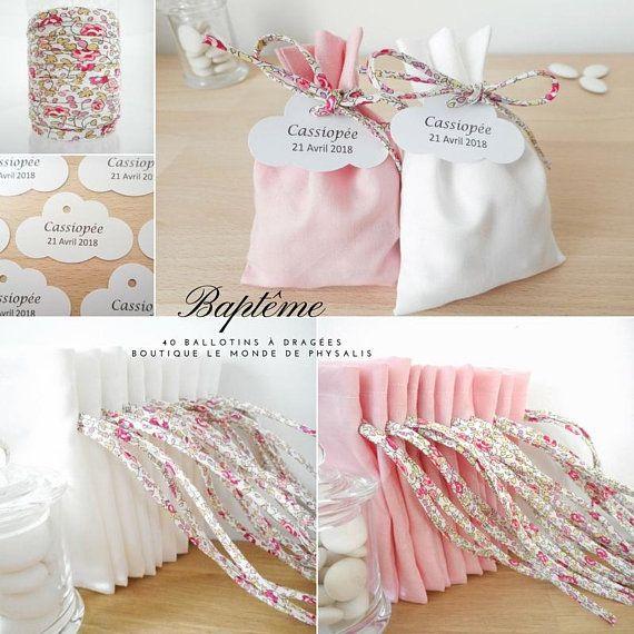 Ballotin à dragées Mariage et Baptême, Tissu rose clair et cordon Liberty Eloïse rose , étiquette papier personnalisée, communion fille