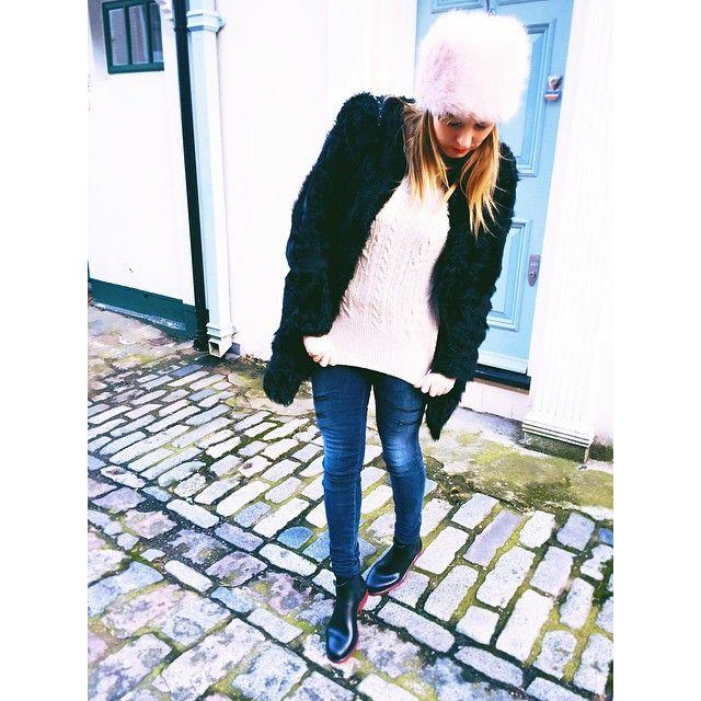 Keeping cosy #Topshop hat, #Ravn Coat, Comptoir Des Contonnieur Knit, #JBrand Jeans and Meduse Boots in #Belgravia #London