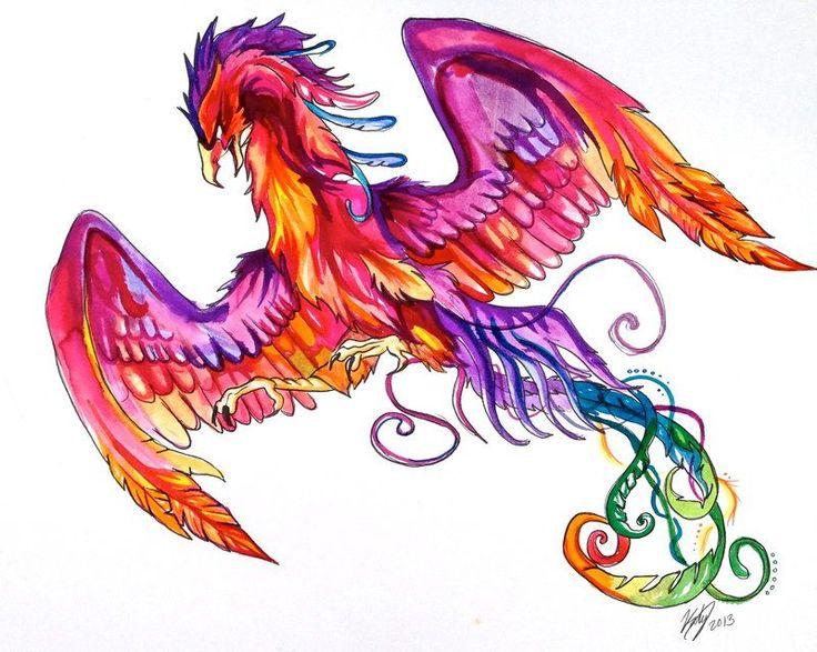 Феникс рисунки цветные