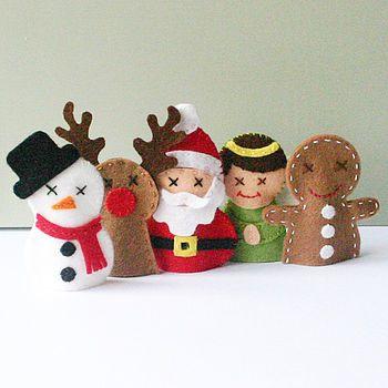 Marionnette à doigt en feutrine : bonhomme de neige, renne, père Noël, ange, bonhomme pain d'épice