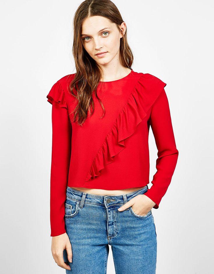 Long sleeved blouse with diagonal frill - Shirts - Bershka Ukraine