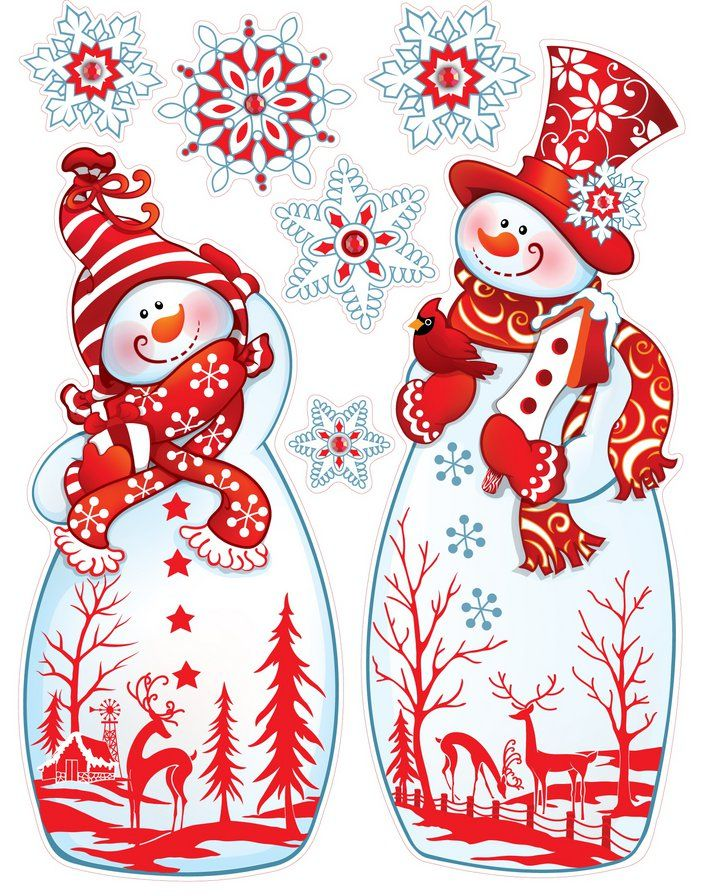 CHRISTMAS SNOWMEN AND SNOWFLAKES CLIP ART PRINTABLE