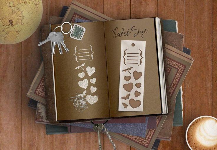 Dear Diary Brackets & Hearts Bookmark Stencil