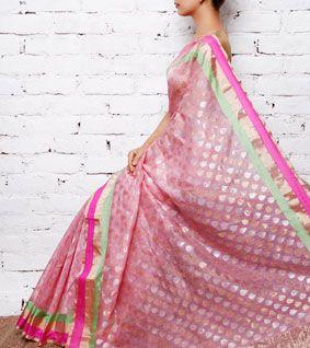Pink Chanderi Cotton Silk Saree with Zari Work
