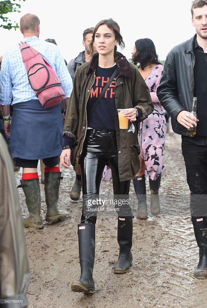 Alexa Chung attends day 1 of Glastonbury Festival on June 24, 2016 in Glastonbury, England.