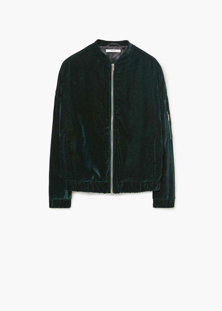 Velvet bomber jacket | MANGO