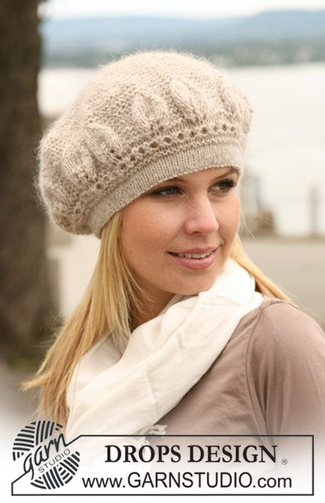 "Knitted DROPS Basque hat with garter st and leaf pattern in ""Alpaca"" and ""Kid-Silk"". ~ DROPS Design"
