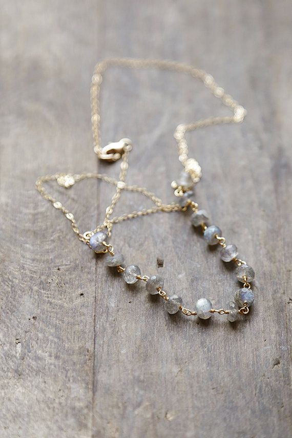 Labradorite and Gold Necklace Labradorite Stone by AmuletteJewelry, $64.00