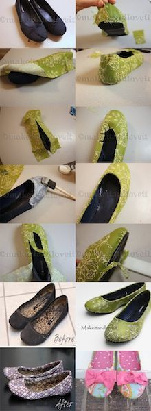 How to cover old flats with cute fabric. Suggestion. Use Outdoor Modge Podge for the outside. Use Tacky glue to hold down the fabric on the inside of the shoes.