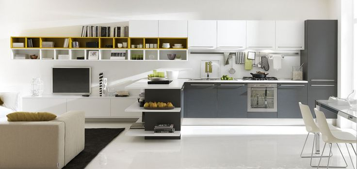 Modern Kitchen Open Design with Few Pops of Color White and Grey Kitchen Open to Family Room – Home Design Ideas
