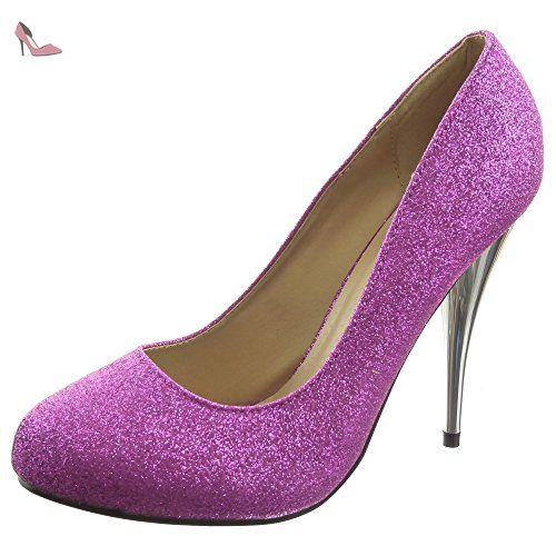 Sopily - Chaussure Mode Escarpin Decolleté Stiletto Cheville femmes Brillant pailettes Talon haut aiguille 11 CM - Violet - WL-288-15 T 37 - Chaussures sopily (*Partner-Link)