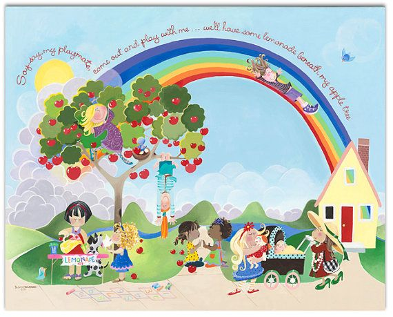 "Rainbow Wall Art for Girl's Room: Say Say Oh Playmate - Gallery Wrapped Canvas - 40""H x 30""W"