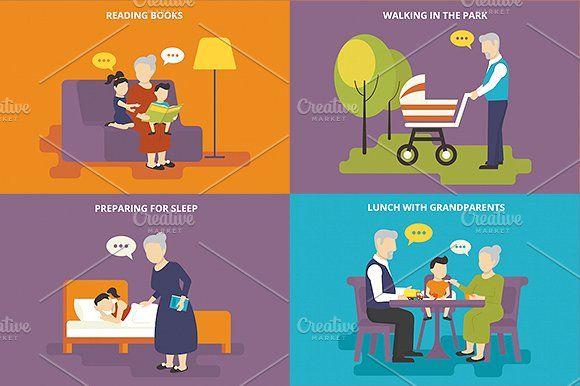 ilustraciones planas familiares conjunto # 9 - Ilustraciones