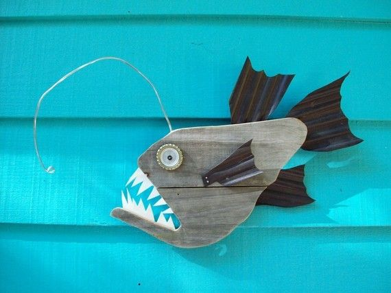 I love this Anglerfish! Love all Johns stuff, keep buying them.. this is made of recycled wood and upcycled fences