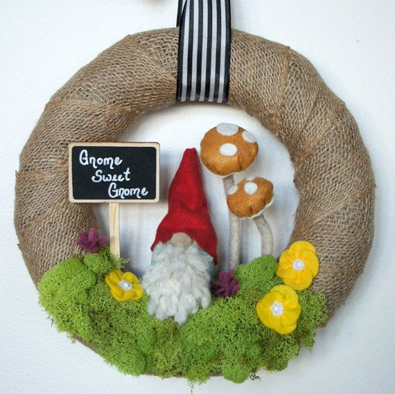 Whimsical Wreath  Gnome Wreath  Spring by WildflowerWhimsyGA