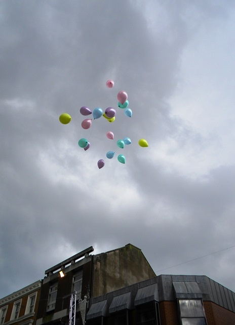 20 balloons were released as part of proceedings, each representing a year that has passed since the bombing of the town centre by the IRA on Saturday 20 March 1993.
