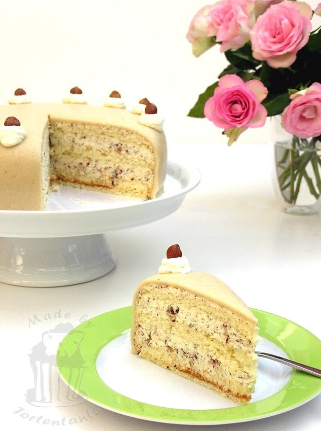 Hazel nut cream cake with marzipan