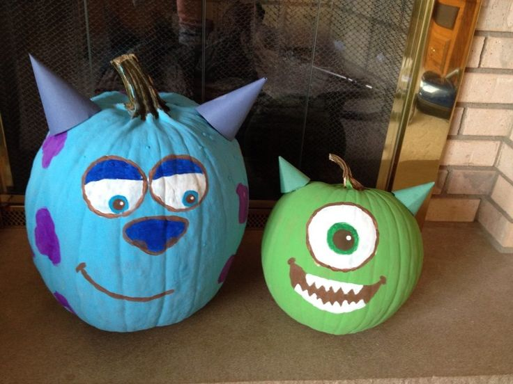 paint mike and sully pumpkins :)   Halloween   Pinterest