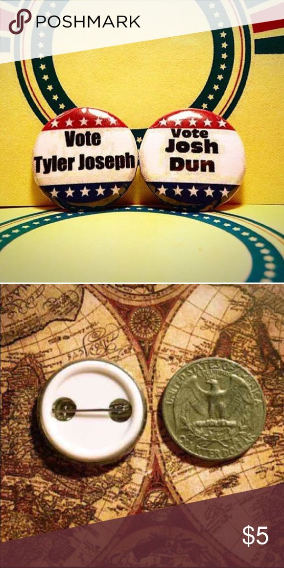 Twenty one pilots button set of 2 ❤In this button set you get the 2 buttons shown in the picture. These buttons are extremely unique that you will not be able to find outside of my shops I own. They are 1inch so they are slightly smaller than a quarter. Have any questions? Comment down below and I'll respond as soon as possible😊• • ~tags~ #joshdun #votejoshdun #tylerjoseph  #tøp #tøpdebate   #falloutboy #panicatthedisco  #skeletonclique #blurryface  #supernatural  #panicatthedisco…